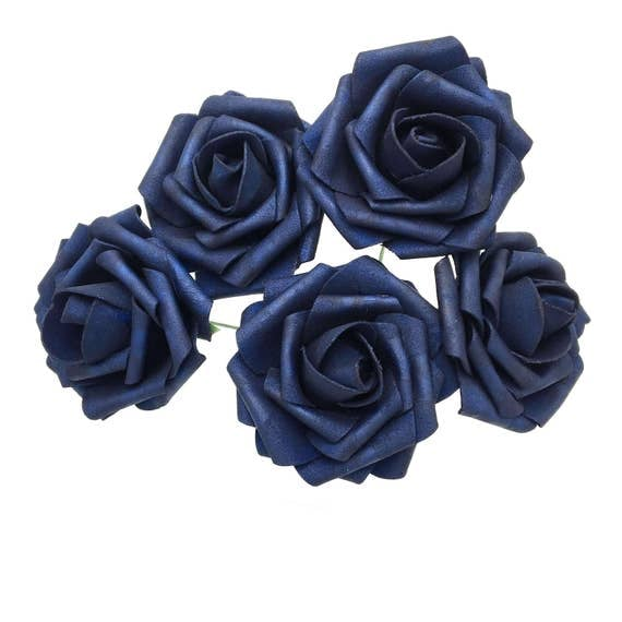 Navy Blue Wedding Flowers Roses Artificial Foam Rose