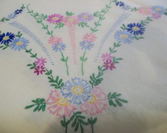 Vintage English Hand Embroidered Tablecloth /  c.1930's.