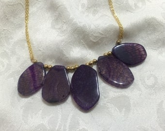 Amethyst Agate statement necklace - Gold Filled Chain with semi-precious gemstone - bold statement piece with natural gemstone