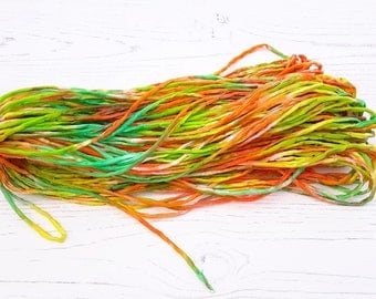 Silk Cord hand dyed 45 meters in yellow, orange, green 2mm silk string