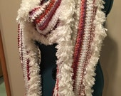 Freeform Sequin, Sparkles, Faux Fur, and Chenille Crochet Scarf-with Lucky Cat Beads-White, Pink, and Purple-One of a Kind-RESERVED FOR BECK