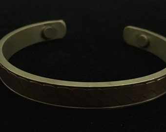Vintage Twisted Copper and Brass Cuff Bracelet   (ABX1G)