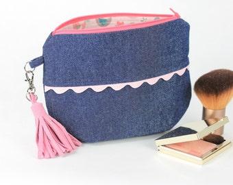 Cosmetic purse, Makeup purse, Cosmetic bag, Makeup bag, Denim purse, Cute makeup bag, Cute cosmetic bag, Cute purse, Cute clutch
