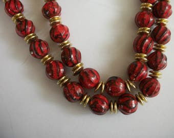 Handmade Red Beads with  Black Stripes Beaded Necklace Acrylic Beads Gold Tone Spacers