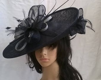 Sophia..Black & silver Hatinator..Stunning  Sinamay Fascinator Hat on a Headband..Hatinator