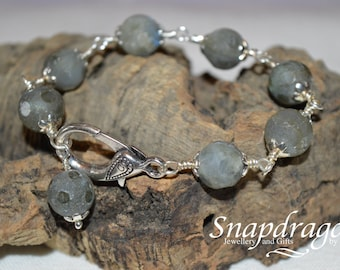 Frosted faceted Labradorite bead bracelet with giant lobster clasp