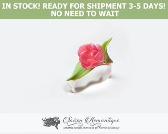 Ready for shipment - Rings Tulip Spring Spirit - Polymer Clay Flowers