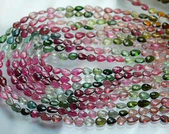 14 Inch strand Super-FINEST,Multi Tourmaline Faceted Full Drill Pear Briolettes 6-7mm