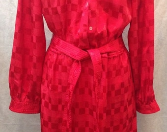Vintage Townhouse red poly dress size 16