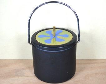 Matte Black Metal Ice Bucket / Wine Cooler, Vintage MCM Enameled Abstract Blue Flower Lid, Brass Knob, Milk Glass Insert, Cork Lining