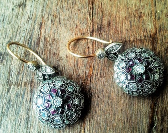 2  Edwardian , Antique handmade earrings, each with 40 old mine diamonds and 8 rubies