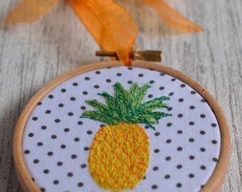 Pineapple Gifts, Pineapple Ornament, Pineapple Accessories, Tropical Decor, Tropical Print, Pineapple Fabric, Embroidery Hoop, Wall Hanging