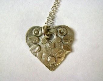 little heart artisan pendant,  sterling