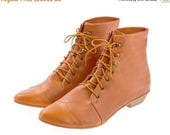 ON SALE Whisky brown Leather handmade boots / High Polly-Jean lace up Whisky brown flat Boots by Tamar Shalem