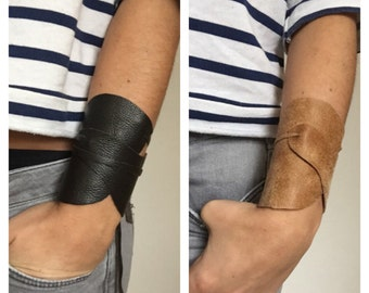 LEATHER CUFF, brown leather, brown leather wristband, leather armband, biker's cuff