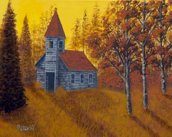 Wood Church Acrylic Painting, Folk Art Painting, Pastoral Painting, Religious Art, Yellow wall art, Church Art, Fall Art, Fall Colors -18x24
