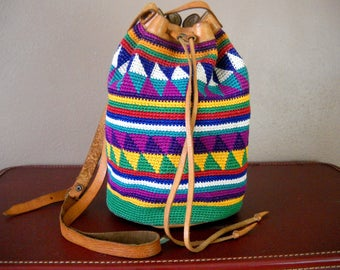 Bohemian Woven Cotton Sling Bucket Bag with Leather Trim