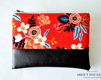 Cosmetic Bag, Clutch, Make-up Bag, Pouch, Red Floral, Rifle Paper Co., Cotton and Faux Leather by Aren't You Fancy