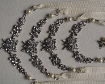 Wedding Pearl Necklace, Freshwater Pearl Necklace, Rhinestone,  Ivory, Handmade, Wedding Jewelry, Bridal Jewelry, Bridal Pearl Necklace