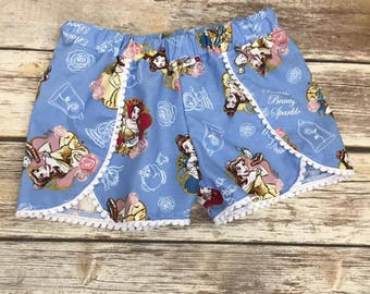 Disney Shorts, Belle Shorts, Beauty and the Beast Shorts, Toddler shorts