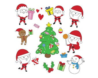 Christmas clipart set - Christmas santa clipart