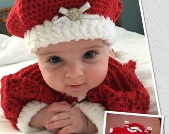 Crochet Baby Girl Sweater Set, Hat, Booties  Size 3 to 6 months