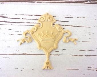 Furniture Appliques * Architectural Crown Crest* Paintable * Flexible * Stainable
