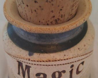 Handmade Clay Pottery Jar Magic Jar By Brophy Vintage Pottery Jar With Cork Clay Pottery Magic Jar Vintage 1970s Earthtone Handmade Pottery