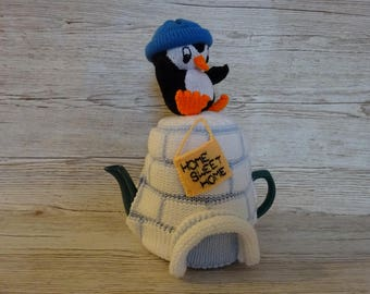 Knitted Tea Cosy Cozy Cosie Penguin on his Igloo, Home Sweet Home, Shabby Chic