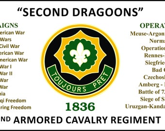 "2nd Armored Cavalry Regiment"" Second Dragoons"" 3' x 5' 2Ply Polyester Flag One-Sided Indoor Flag w/Four Grommets"