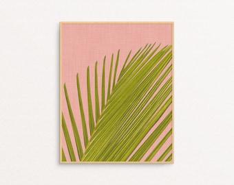 Printable Bedroom Art - Tropical Palm Leaf - Plant - Summer Decor - Modern Minimalist - Housewarming Gift - Coral pink - Green - SKU:3258