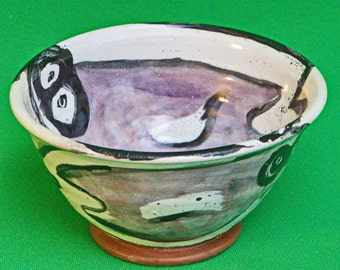"""Hand-Made Art Pottery Ceramic Footed Bowl Signed """"Rita"""""""