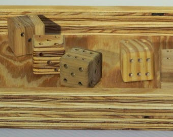 Wooden dice, dice tray, old fashioned dice, oversized dice, handmade dice, Yahtzee, board game, dice game, yard games, party favors, games