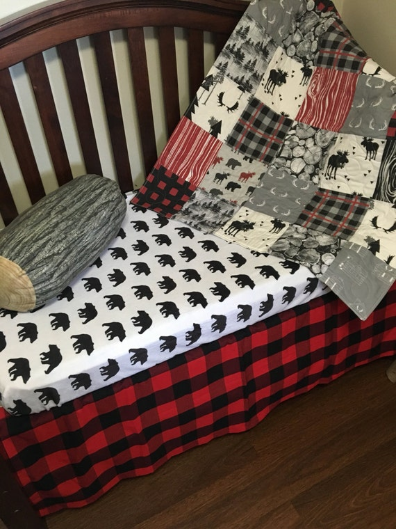 Baby Quilt Boy Woodland Buffalo Plaid Crib Bedding