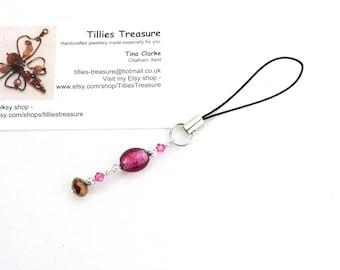 Dark Pink and Swarovski Crystals Cell Charm, Phone Charm, Bag or Purse Charm, Dangle, Zip/Zipper Pull, Lampwork Beads, Handmade, OOAK