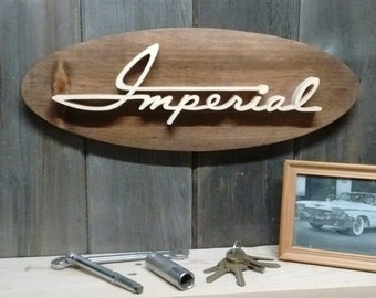 1960 Chrysler Imperial Script Emblem Oval Wall Plaque-Unique scroll saw automotive art created from wood.