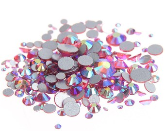 AB Rose Pink --  Crystal Glass Rhinestones Flatback High Quality no hotfix  Wholesale Pack Lot -- SS4-SS30 Choose your size