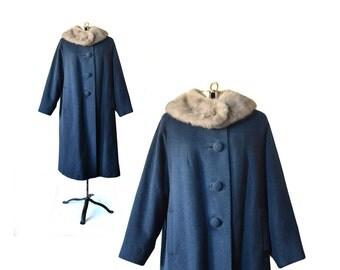Blue Coat, 1950s Coat, 50s Coat, Vintage Coat, 1950s Vintage coat, Large 50s Vintage Coat, Blue Wool Coat, Vintage Clothing, Fur Collar Coat