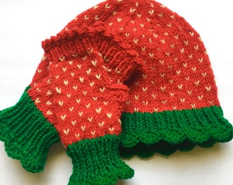 Strawberry hat and Mitts, Women's Knit Set, Fingerless Gloves, Strawberry Beanie, Knitted Hat and Gloves, Teens Fingerless Mitts and Hat