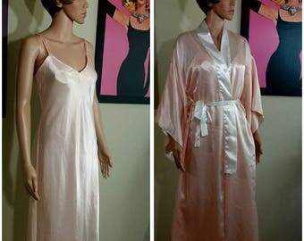 Vintage 90s sleepwear nightie and Robe size M by Stephanie Buffington
