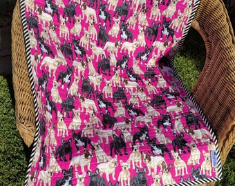 Handmade quilt featuring French Bulldogs on a pink background - great quilt for a dog lover, a child or as a table topper.