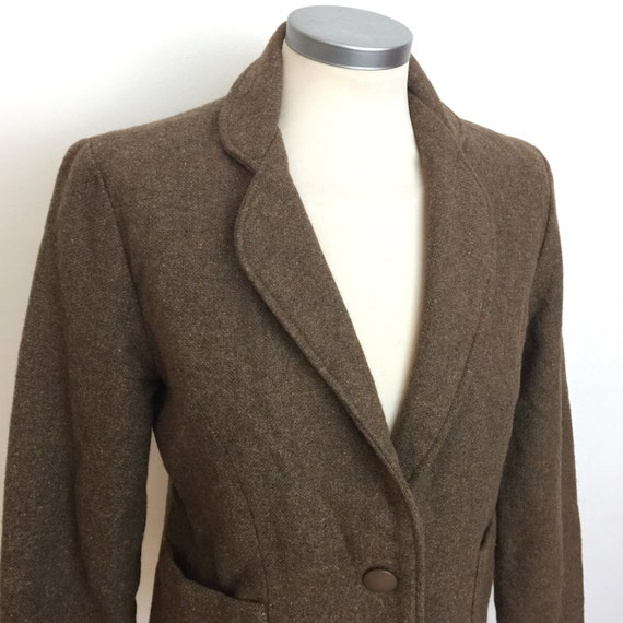 Vintage tweed jacket brown fleck fitted suit jacket UK 12 1970s nipped in waist wool WW2 feel