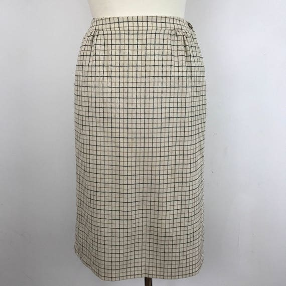 "Vintage skirt tweed straight skirt woven wool UK 12 14 high waisted 30"" handmade WW2 separates 1950s straight skirt cream check"