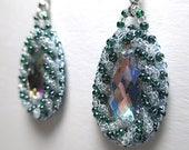 CRYSTAL GREEN DROPLETS beaded earrings, gem inlay, bead embroidery, raised beadwork, handmade