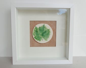 Botanical vine leaf wall art, mixed media framed ceramic green leaf grapevine wall hanging picture miniature, nature lover housewarming gift