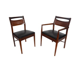 Walnut Dining Chairs Set of Six American of Martinsville Mid Century Modern