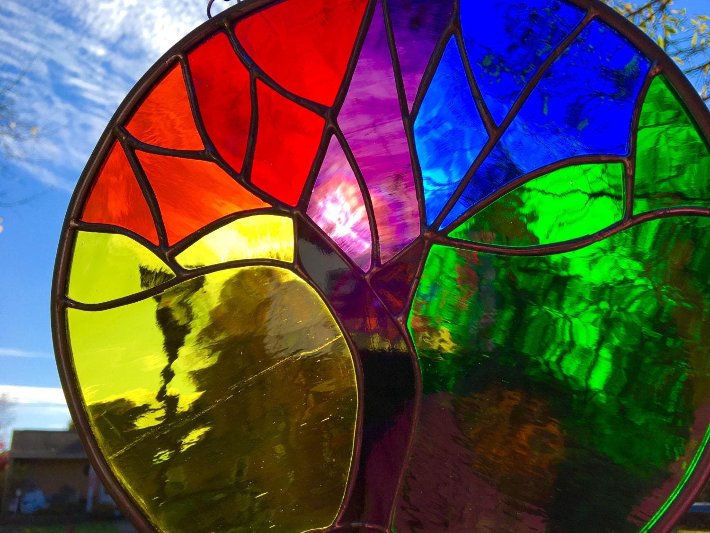 Rainbow stained glass tree of life suncatcher art