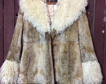 Mongolian and Rabbit Fur Vintage Coat