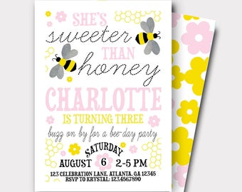 Bumble Bee Birthday Invitation | Bee Birthday Invitation |Honey Bee Birthday Invitation | Sweeter Than Honey | First Birthday