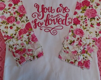 Embroidered Raglan,Ruffle Sleeve Floral Shirt/Top/Blouse